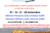 Voli per e da Cuba settembre