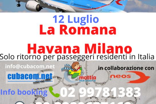 Voli da Cuba e Santo Domingo rimpatrio