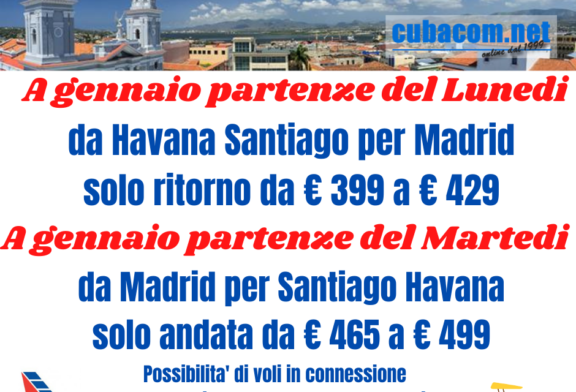 Voli Santiago De Cuba Havana da Madrid