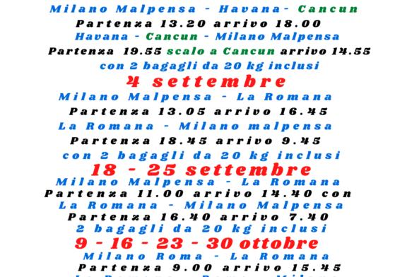 Voli La Romana Havana e Cancun da e per Milano Malpensa